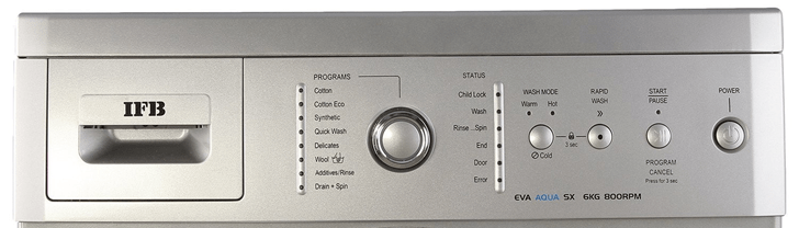 ifb washing machine Eva Aqua Sx 6KG 800 rpm controls