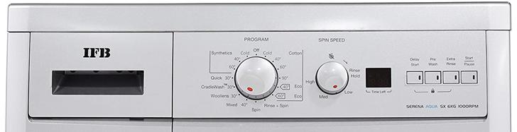 Controls on ifb washing machine